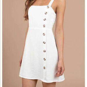 Tobi Sidekick White Button Up Skater Dress